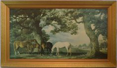GORGEOUS Vintage 1970s Print of George Stubbs' mares and foals in a wooded landscape - SpearmintGallery on Etsy