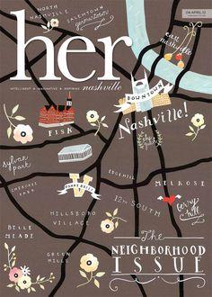 Rebekka Mann Seale - Map of Nashville Map Design, Cover Design, Layout Design, Travel Illustration, Graphic Design Illustration, Flat Illustration, Lettering, Typography Design, Country Maps