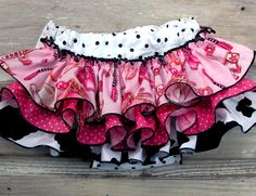 Cowgirl Ruffle Bloomer Birthday Diaper Cover Rodeo Princess Bloomers Newborn Baby Toddler Pink White Black Polka Dots Bella Baby Blu 5664. $32.00, via Etsy.
