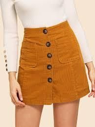 To find out about the Button Front Corduroy Skirt at SHEIN, part of our latest Skirts ready to shop online today! Girly Outfits, Mode Outfits, Skirt Outfits, Fall Outfits, Christmas Outfits, Blouse Dress, Dress Skirt, Cute Skirts, Mini Skirts