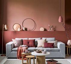 Pink Living Room Design - Page 20 of 21 - LoveIn Home Living Room Red, Living Room Colors, Living Room Decor, Bedroom Colors, Interior Paint Colors, Interior Design, Modern Interior, Stylish Interior, Orange Interior