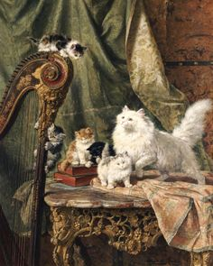A Musical Interlude, 1897 by Henriette Ronner-Knip - art print from King & McGaw