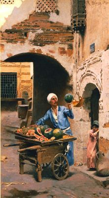 "Raphael Ambros (Austrian, 1855-1895) ""The Mellon Seller""    ::::    PINTEREST.COM christiancross    ::::   حَمار ! و حلاوه ! و ع السكين ! و اللى ما يشترى ... يتفَرَّج !  !وعاشق النبى يصلى عليه !  الله أكبر Old Egypt, Egypt Art, Life In Egypt, Jean Leon, Empire Ottoman, Arabian Art, Academic Art, Historical Art, Old Paintings"