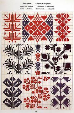 Ukrainian and Romanian embroidery of Bukovyna-Bucovina Polish Embroidery, Folk Embroidery, Cross Stitch Embroidery, Embroidery Patterns, Cross Stitch Borders, Cross Stitch Designs, Cross Stitching, Cross Stitch Patterns, Knitting Charts