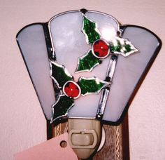 Holly Night light  Tiny Holly Nightlight  Stained by glassbypat