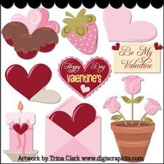 My Valentine 2 Clip Art - Original Artwork by Trina Clark