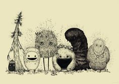 These are some of the spirits of the Forest. Every year they gather for a picnic and poses for a family photo.  They are hand drawn with ink by me, then scanned