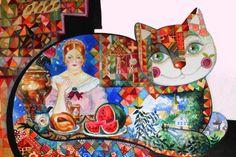 Russian quilt cat - Peinture,  40x30 cm ©2015 par Oxana Zaika -                                                                                                              Art déco, Art figuratif, Classicisme, Papier, Animaux, Chats, Culture populaire / célébrité, chat, russe, russie, cats, nature morte, deco, folk, painting, cat, katze, gato