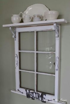 This site has many upcycling ideas for the home. I like the idea of adding a shelf across the top of an old window frame. Idea for Pilgrim Firs window frame? Window Frame Decor, Old Window Frames, Window Art, Window Panes, Windows Decor, Porch Windows, Decorating Old Windows, Old Window Ideas, Decorating With Window Frames