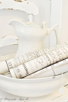 White pitcher and sheet music (from Dreams Come True)