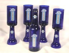 Repurposed beer bottles made into goblets by CRwinebottles on Etsy, $18.00