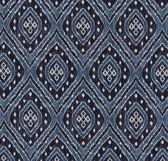 Navy Blue Ikat Upholstery Fabric - Denim Blue Furniture Fabric - Woven Ikat Throw Pillows - Navy Ikat Headboard - Chambray Blue Chair Pads