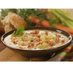 Plenty of vegetables make this New England Clam Chowder a hearty and colorful  selection your whole family will enjoy.