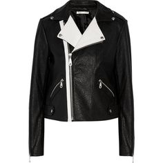 Rebecca Minkoff Wolf two-tone textured-leather biker jacket ($440) ❤ liked on Polyvore featuring outerwear, jackets, black, two tone jacket, motorcycle jacket, rider jacket, asymmetrical zip jacket and moto jacket