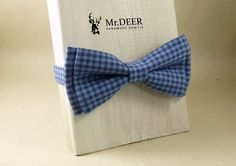 Blue Checked Bow Tie - Ready Tied Bow Tie - Adult Bow Tie - Mens bowtie - Groomsman, Wedding Bow Tie - Gift for Him - Mr.DEER by MrDEERbowtie on Etsy