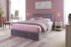 King Size One Drawer Velvet Bedframe - Hector - EZ Living Furniture Bedroom Bed, Dream Bedroom, Master Bedroom, Bed Storage, Storage Spaces, King Bed Frame, King Size Mattress, Types Of Beds, Cool Beds
