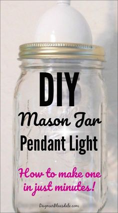 It only took me 10 minutes to make this DIY mason jar pendant lamp!You can find the easy tutorial on Dagmar's Home.Mason jar pendant lights are all the rage and… Mason Jar Pendant Light, Diy Mason Jar Lights, Mason Jar Lighting, Mason Jar Crafts, Mason Jar Diy, Pendant Lights, Pendant Lamp, Light In, Diy Light
