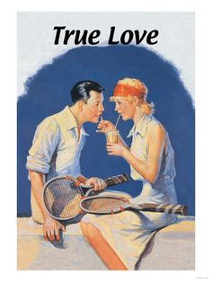 True Love: Sharing a Milkshake After Tennis Madame Gres, Vintage Art Prints, Vintage Posters, Vintage Sports Decor, Tennis Posters, Galerie Creation, Tennis Photos, Tennis Funny, Vintage Tennis
