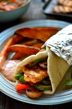 Harissa halloumi, roasted vegetable & houmous wraps with spiced sweet potato wedges - Domestic Gothess Veggie Recipes, Vegetarian Recipes, Dinner Recipes, Cooking Recipes, Veggie Dinners, Vegetarian Dinners, Vegetarian Cooking, Meal Recipes, Lunch Recipes
