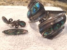STERLING CLAMPER BRACELET, RING & PIN- SIGNED F BALLADARES TAXCO MEXICAN…