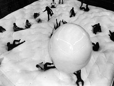 "Haus-Rucker Co.'s Giant Billiard, an inflatable structure on view at the Museum of Contemporary Crafts as part of the exhibition ""Haus-Rucker Co.- Live!"" held May 15 through June 7, 1970."