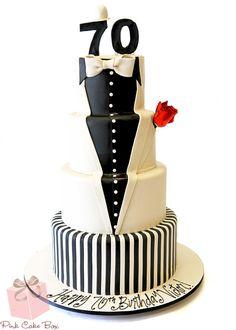 70th Birthday Tuxedo Cake by Pink Cake Box