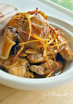 Claypot ginger wine chicken. A delicious food for confinement and Traditional remedy to warm up body. Old ginger and chinese wine are the main highlight in this dish.