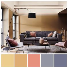 TRIADIC  A subtle, triadic colour scheme featuring Dulux Colour of the Year 2019 - Spiced Honey. Colour palette illustration by Zena O'Connor. Image credit: Dulux