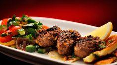 Recipe - Thyme Lamb Kofta with Haloumi (Dan & Steph) My Kitchen Rules, Great Recipes, Favorite Recipes, Tahini Sauce, Greek Yoghurt, Latest Recipe, Yummy Treats, Lamb, Breakfast Recipes