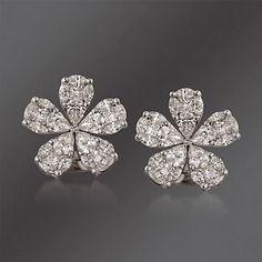 Simon G. Floral Diamond Stud Earrings in White Gold Small Gold Hoop Earrings, Diamond Drop Earrings, Diamond Studs, Beaded Earrings, Sterling Silver Earrings, Diamond Jewelry, Gemstone Jewelry, Gold Jewelry, Jewelery