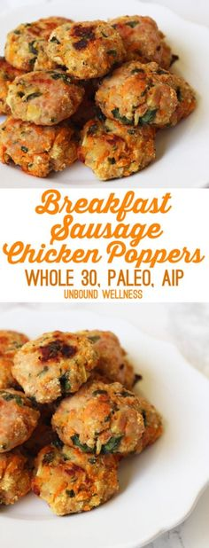 Breakfast Sausage Chicken Poppers (Paleo Whole 30 AIP) Breakfast Sausage Chicken Poppers (Paleo Whole 30 AIP) Whole 30 Lunch, Whole 30 Breakfast, Breakfast Time, Whole 30 Snacks, Whole 30 Meals, Whole Foods, Perfect Breakfast, Sausage Breakfast, Paleo Breakfast