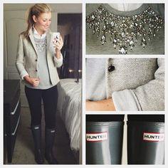 Grey blazer, grey embellished sweater, white button up, black skinnies, grey wellies  cc: karla reed