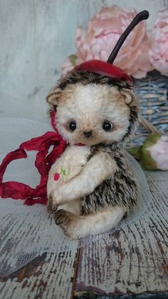 Hedgehog cherry OOAK Artist teddy toy  stuffed by villaParadisoC