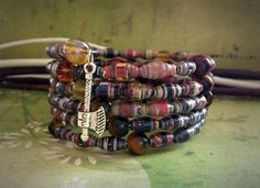 Fall color bracelet Paper bead bracelet Bangle by JoannaJeanne