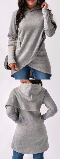 Gorgeous, love the unique look.  Asymmetrical Long Sleeve High Low Pullover Hoodie