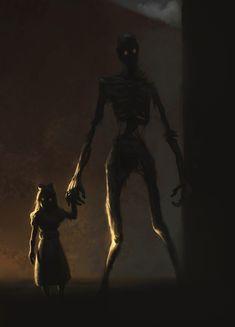 Aric Salyer Creepy Kids, Creepy Art, Monster Drawing, Monster Art, Arte Horror, Horror Art, Shadow Creatures, Shadow Monster, Dark Drawings