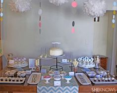 Chevron chic twin baby shower