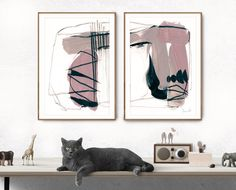 Abstract Print Set Set of 2 Prints Abstract Art Blush Pink Abstract Wall Art, Abstract Print, Contemporary Wall Art, Modern Art, Pink Wall Art, Blue Art, Large Wall Art, Fine Art Paper, Printable Art