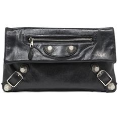 c8131af23ce3f Balenciaga Black Lambskin Giant Silver Envelope Clutch