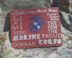 Wood Sign  Marine Corps Typography Wall Decor by HandmadeByLeeAnn, $24.99