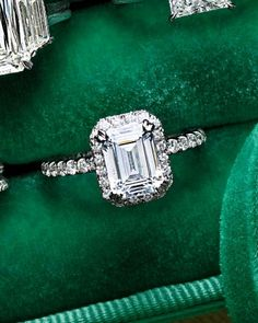 "Dazzling Engagement Rings  ~~  Emerald-Cut Diamond Engagement Ring  ~  Round diamonds soften Kirk Kara's ""Carmella Collection"" emerald cut (kirkkara.com)."