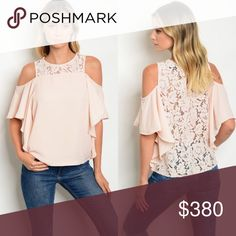 😍COMING SOON😍 Blush Cold Shoulder Top Feminine lace detail around the neck and throughout the back on this cold shoulder top. 100% polyester Buy single piece or add to a bundle for savings at purchase. No trading. Price is firm. @caradock Tops Blouses