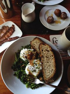 Poached eggs over Chinese Broccoli with toast!