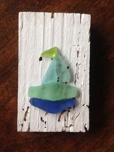 Sailing Sea Glass Ship on Wood Panel by OceanTesoro on Etsy, $28.00