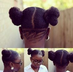 Undercut and protected ends afro puffs