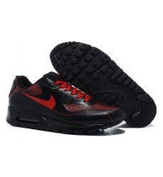 buy online 48e74 4f205 Homme nike air max 90 chaussures complet noir de cuir rouge Pas cher-20