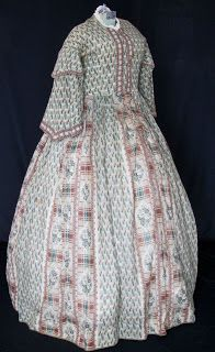 All The Pretty Dresses: 1860's Challis Dress ~ Bust 38 inches, Waist 32 inches, Length from neck to hem 61 inches and Hem Circumference is 134 inches