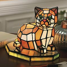 Stained Glass Cat Lamp from Seventh Avenue Lovely gift for cat lover!