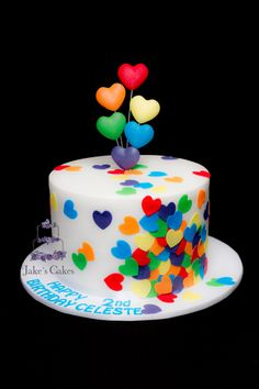 - Confetti Rainbow lovehearts for a little girl who had a very colourful rainbow party. Inside was a Rainbow layer cake