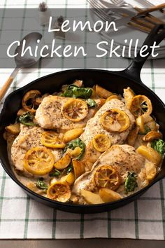 Lemon Chicken Skillet Dinner Healthy Chicken Dinner, Skillet Dinners, Spinach And Cheese, One Pan Meals, Skillet Chicken, Lemon Chicken, Healthy Dinner Recipes, Stuffed Peppers, Cooking